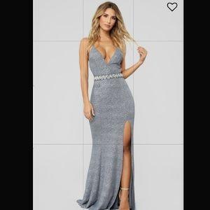 Formal Silver Maxi Dress